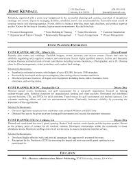 Event Planner Resume With No Experience Event Planner Resume Sample