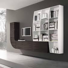 Mobile parete soggiorno libreria porta tv curvo ecobianco gessato