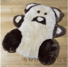 sheepskin teddy rug brown white