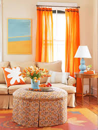 Orange Living Room Decor Standing Lamp Hanging Lamp Cushions Soft Gray Fabric Riclining