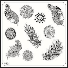 feather template moyou square stamping art image plate 442 ethnic style feather