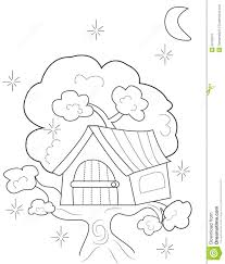 Tree House Coloring Page Stock Illustrations 521 Tree House
