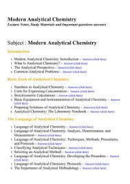 Modern Analytical Chemistry Lecture Notes Study Materials And