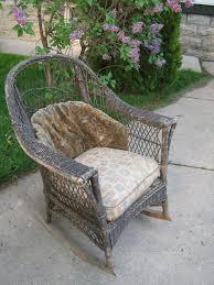 vintage wicker patio furniture. Antique Wicker Rocker Rocking Chair Original Cushions Patio Furniture | EBay Vintage
