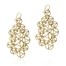 yellow gold lace chandelier earrings