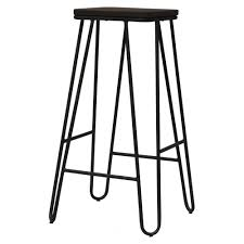 wood metal bar stools. Vintage Graphite Hairpin Metal Bar Stool With Square Dark Wood Seat Stools B