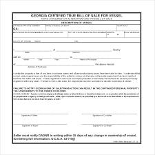 Sample Boat Bill Of Sale Custom 44bill Of Sale Template Ga Ledger Form