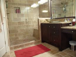 bathroom: Fabulous Red Bathmad On Tile Floor For Small Bathroom Remodel  Ideas With Wood Washbasin