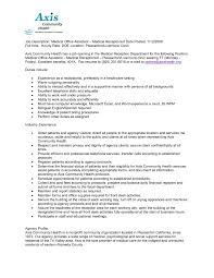 Resume Examples Sample Clerical Resumes Medical Samples Objective