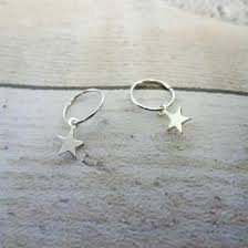 Sterling Silver <b>Tiny Star</b> 10 - 22mm Sleeper Hoop <b>Earrings</b> ...