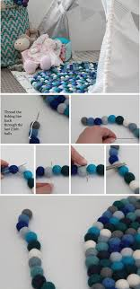 diy colorful felt ball rug