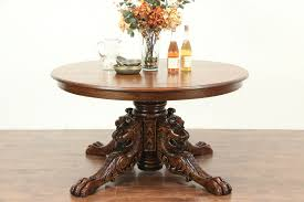 Sold Oak Round 55 Vintage Dining Table Carved Lion Heads Paws