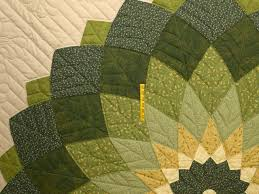 Giant Dahlia Quilt -- marvelous cleverly made Amish Quilts from ... & ... Green and Tan Giant Dahlia Quilt Photo 4 ... Adamdwight.com