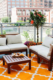 apartment patio furniture. Cheery Outdoor Patio Lounge Space With Ikea Furniture | Jen Serafini\u0027s Chicago Apartment Tour The Everygirl