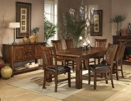 vintage mission style dining room set with hanging pendant lamp light fixture and rectangle wooden dining table plus 6 chairs with black leather seats ideas