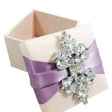 Pearl Crown Brooch Embellished Hinged Lid Wedding Invitation Box
