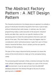 Design Patterns Examples In Net The Abstract Factory Pattern A Net Design Pattern