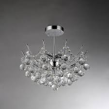 warehouse of tiffany 18 in w chrome crystal semi flush mount light