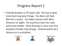 flowers for algernon daniel keyes progress report charlie  flowers for algernon daniel keyes 2 progress