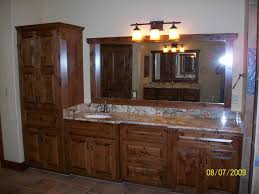 Cabinet And Lighting Knotty Alder Custom Cabinets Traditionalbathroom Inside Bathroom Cabinet And Lighting Remodeling
