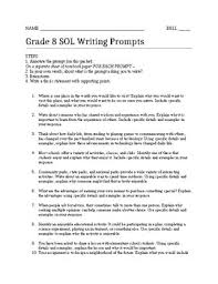 8th Grade Essay Prompts Grade 8 Sol Writing Prompts By 8th Ela Every Day Tpt