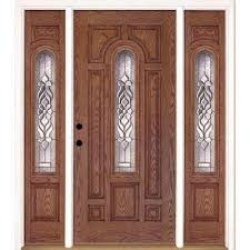 63 5 in x81 625in lakewood brass center arch lt stained medium oak right