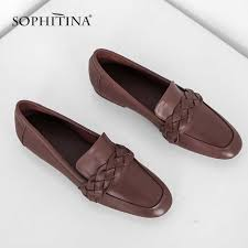 <b>SOPHITINA</b> Women's Flats <b>Genuine</b> Leather Casual Gingham Slip ...