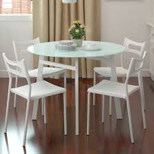 glass top dining table on round with fancy small set