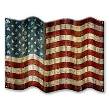 cut out corrugated metal american flag sign