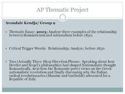 ap thematic project avondale kendja group thematic essay  ap thematic project avondale kendja group 9 thematic essay 2003 analyze three examples