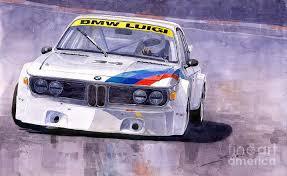 watercolor painting bmw 3 0 csl 1972 1975 by yuriy shevchuk