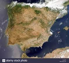 Immagine satellitare della penisola Iberica in Spagna e Portogallo Foto  stock - Alamy
