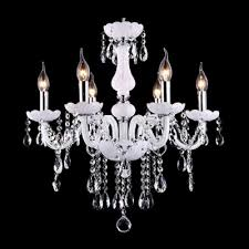 soft and chic white glass scrolling arms and clear crystal droplets chandelier