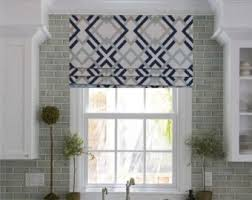 faux roman valance.  Valance Faux Roman Shade Lined Mock Valance Geometric Print Navy Aqua Grey White  Custom Sizing Available In E