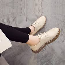 2019 spring and autumn fashion pepper celebrity style leather bullock leisure lace up platform thick