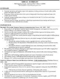 Property Manager Resume Summary Abigal Albright Sample Of Restaurant