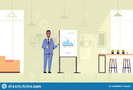 How To Make A Flip Chart Presentation Businessman Presenting Financial Graph On Flip Chart African