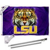 lsu tiger eyes logo 3x5 flag pole bracket gift