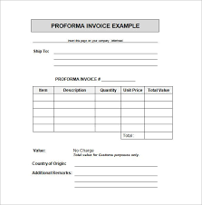 Proforma Invoice Example In Word Doc Invoice Template For