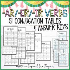 51 Spanish Present Tense Conjugation Tables By Teaching With