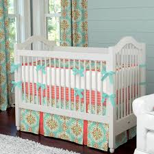 aqua and c crib bedding