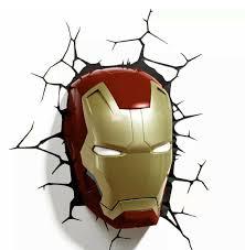 Marvel Avengers 3d Wall Lights Avengers 3d Fx Deco Led Light Iron Man Face Helmet Mask Wall Decoration