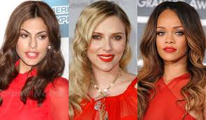celebrity beauty trend red lips red dress