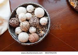 Decorative Bowl With Balls Wicker Bowl Wicker Balls Decorative Object Stock Photo 100 56