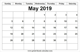 May Blank Calendars Blank May Calendar 2019 Image To Print Printblank In 2019