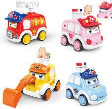 Đồ chơi ô tô cho bé trai 1 tuổi, đồ chơi đẩy cho trẻ mới biết đi gió lên xe ô  tô 4pcs, phương tiện ép chạy bằng ma sát quà tặng