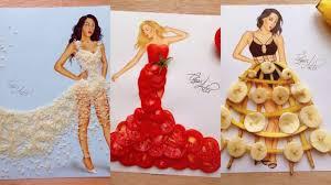 рисунки девушек с очаровательными платьями из