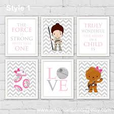 >star wars rey princess leia bb8 chewie nursery decor pink gray girl  star wars rey princess leia bb8 chewie nursery decor pink gray girl room wall decor art gift for girl set of 6 prints item no 206