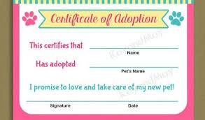 Pet Adoption Certificate Template Stuffed Animal Adoption Certificate Template Free Printable