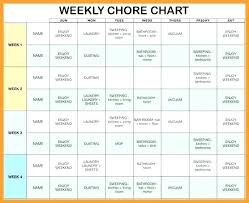 Weekly Chores List Template Chore List Template Housework Schedule Blank Chart Free